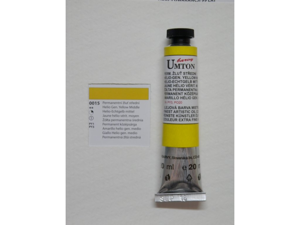 Olejová barva UMTON 20 ml - permanentní žluť střední 15