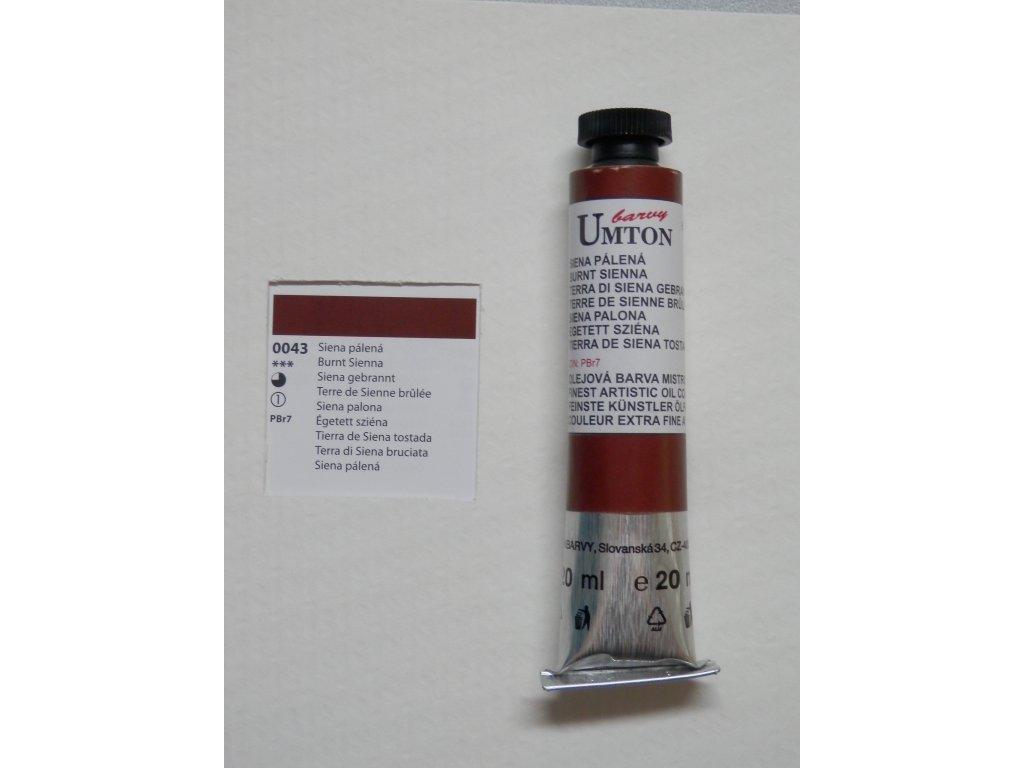 Olejová barva UMTON 20 ml - siena pálená 43