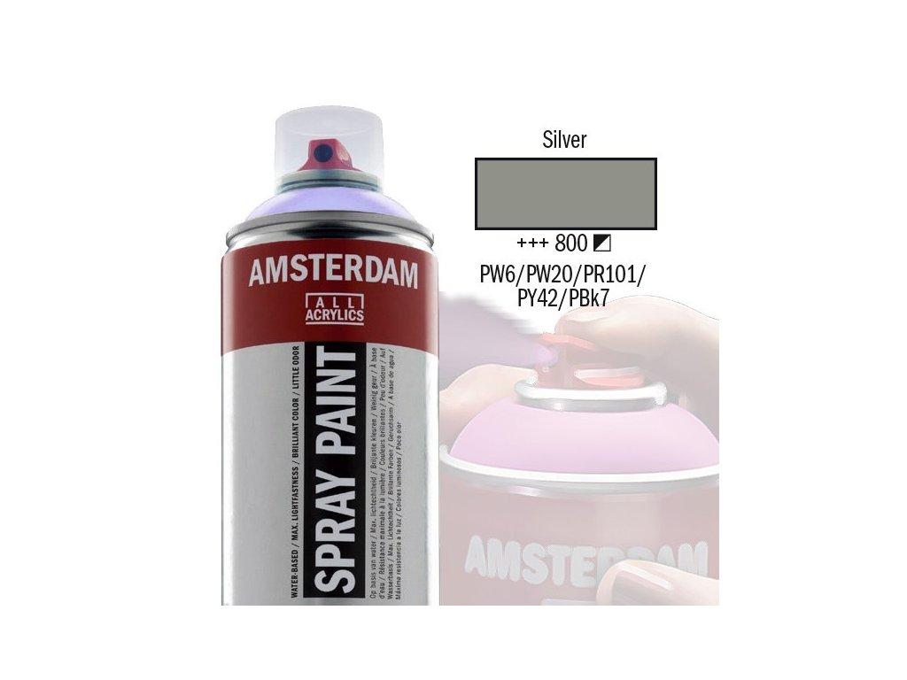 Amsterdam Spray Paint Akrylova Barva Ve Spreji 400 Ml Silver 800