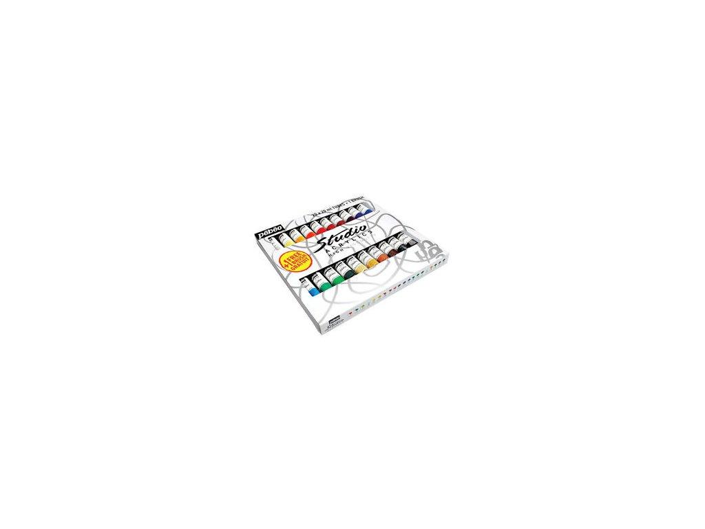 Sada akrylových barev - 20 x 20ml + štětec - Studio acrylics