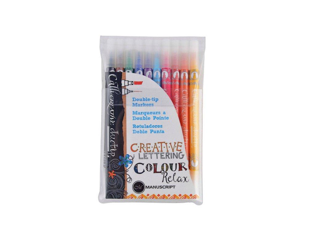 Sada barevných kaligrafických popisovačů Manuscript - 10 ks
