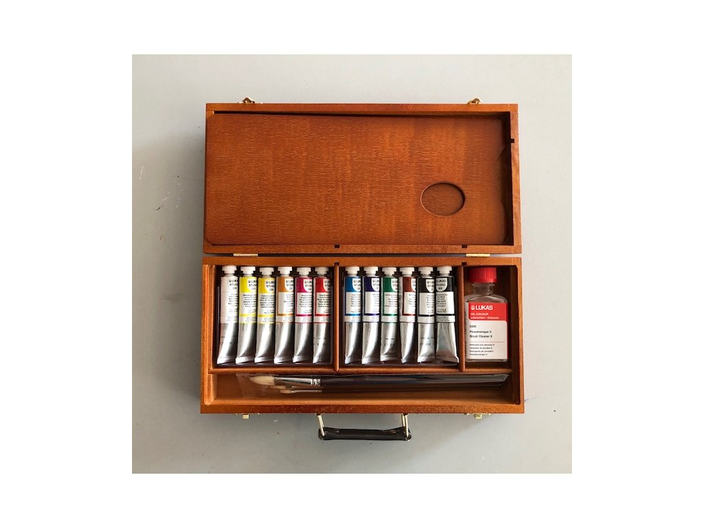 Olejové barvy v dřevěné kazetě - zn. Lukas