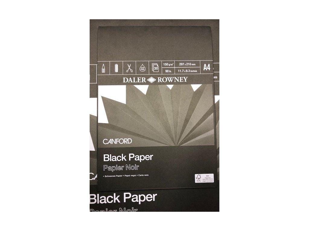 Černý papír v bloku 150g/m Daler Rowney A4