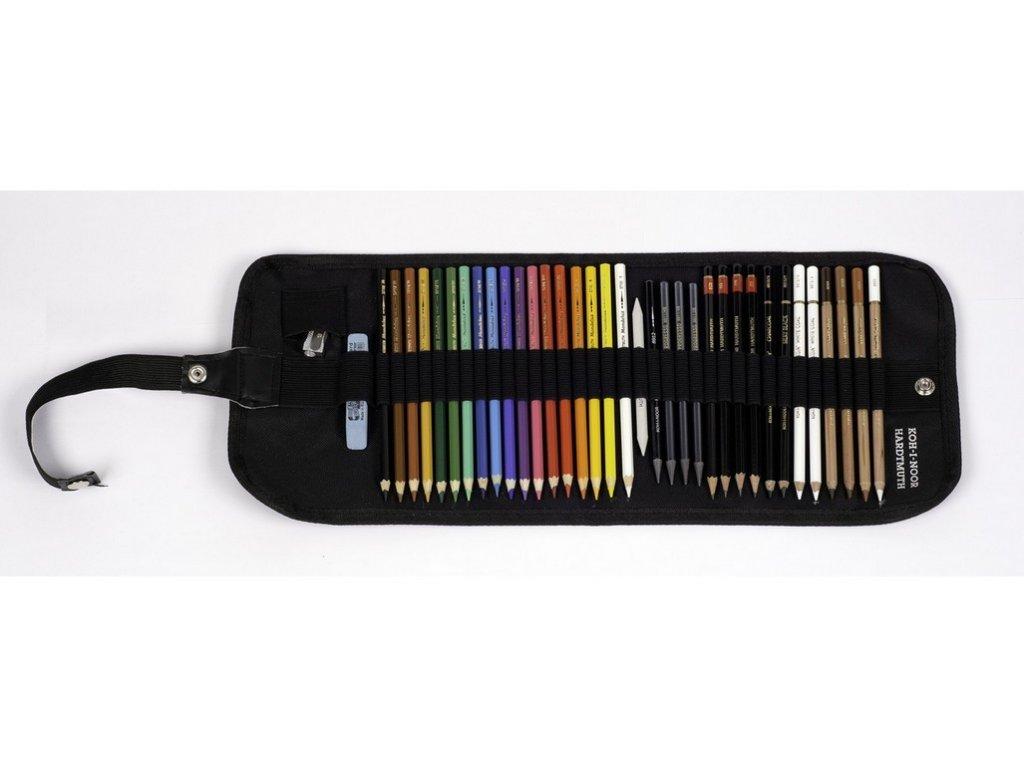 Zavinovací penál s kreslícími potřebami / pastelkami