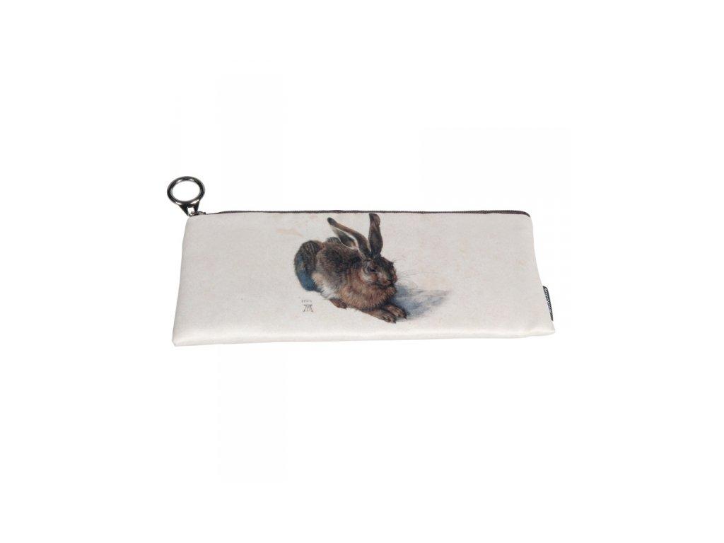 zajíc penál Textilní pouzdro z tenkého molitanu, s černou podšívkou a zapínáním na zip. Vhodné i jako menší kosmetická taštička. S motivem obrazu Zajíc, jehož autorem je německý malíř Albrecht Dürer