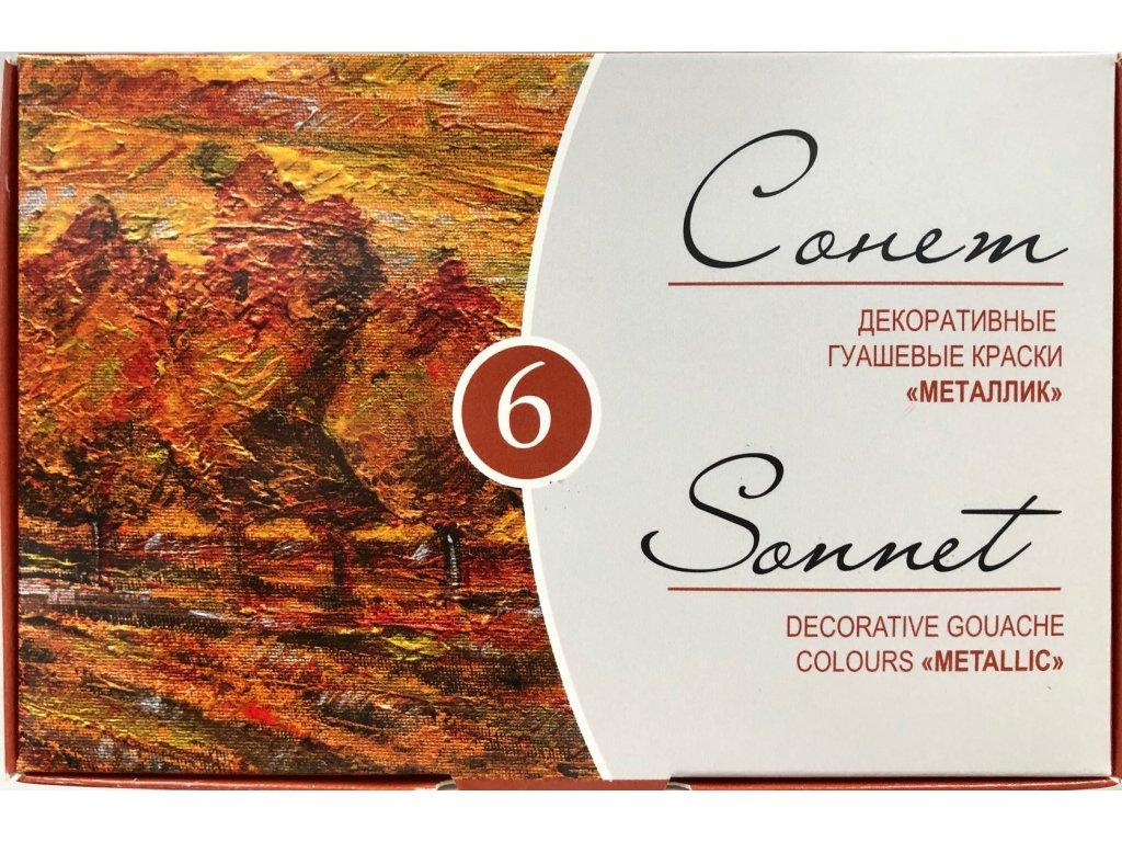 Metalické kvašové barvy 6 ks 20 ml Sonnet