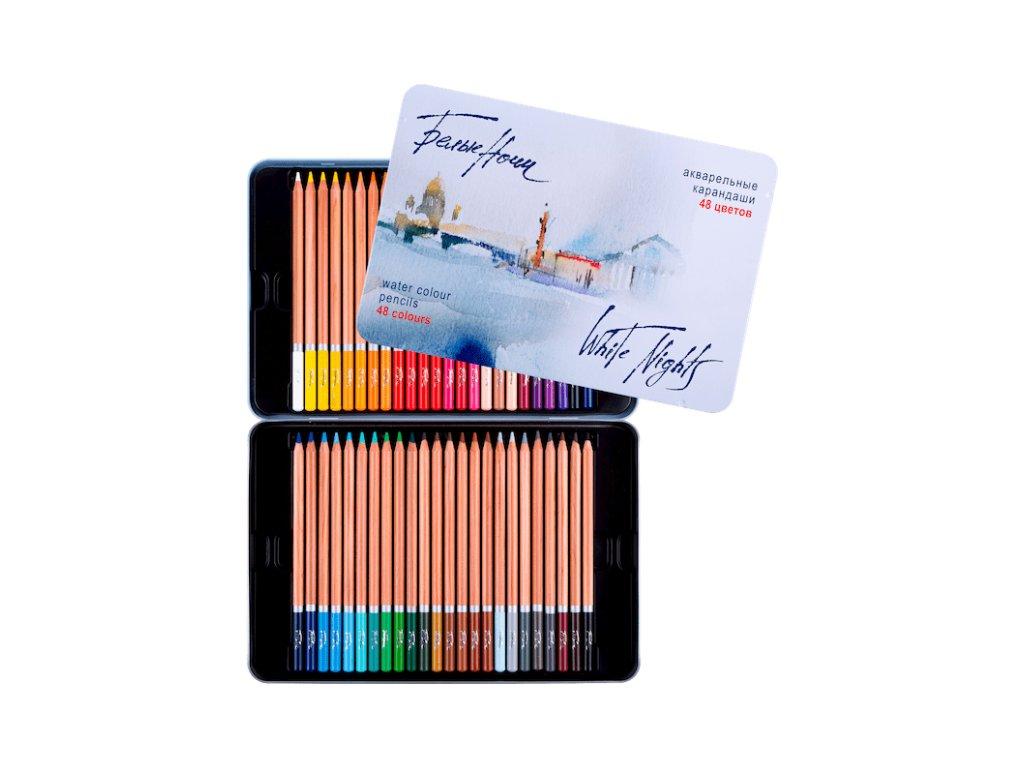 Akvarelové pastelky Nevskaya Palitra white night  - plechová krabička, 48 barev