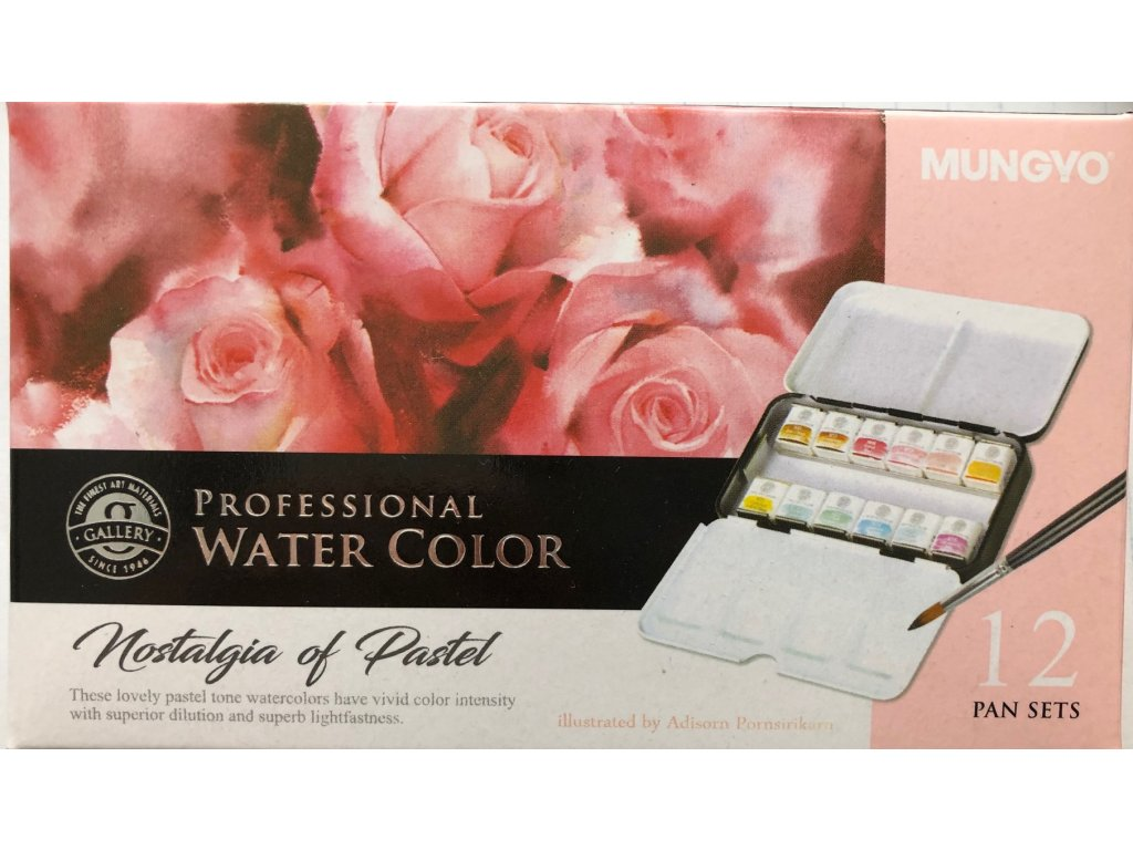 Akvarelové barvy Mungyo  Nostalgia pastelové odstíny - 12ks