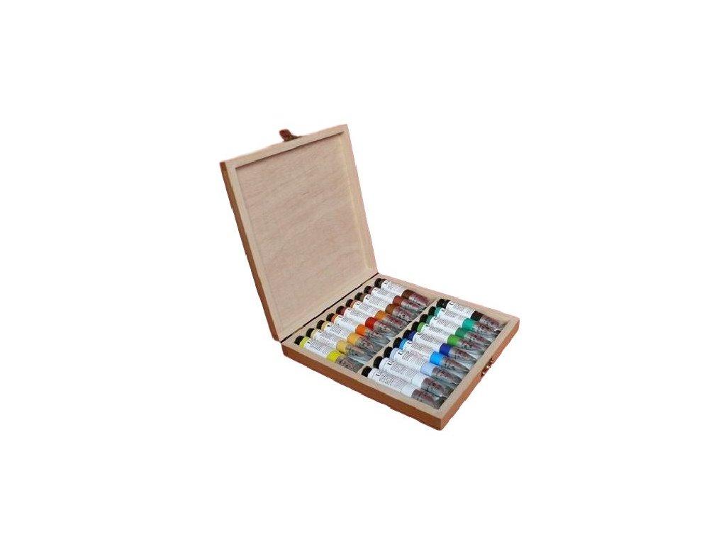 Olejové barvy UMTON 20 ml - dárková sada s dřevěným víkem DAVID 18 ks