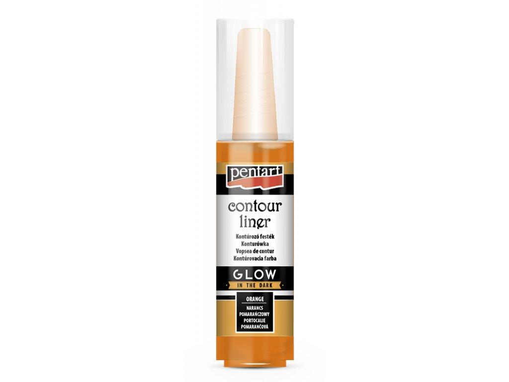 Akrylová barva konturovací svítící ve tmě 20 ml Pentart orange