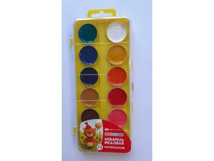 Akarelové barvy 12 ks, žlutá paleta