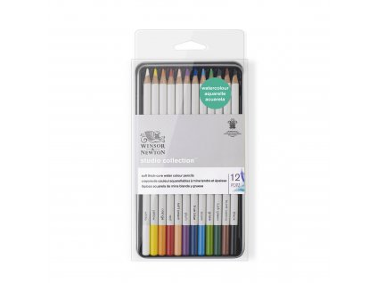 Akvarelové pastelky Winsor & Newton 12 ks v plechové krabičce