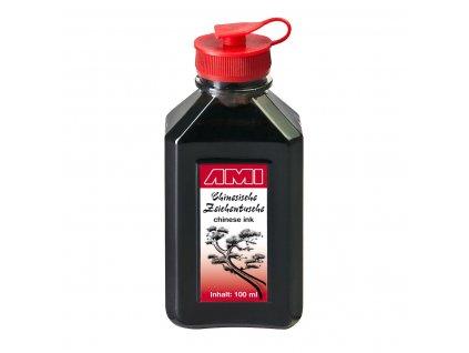 Čínský černý umělecký inkoust 100 ml v plastové lahvičce.