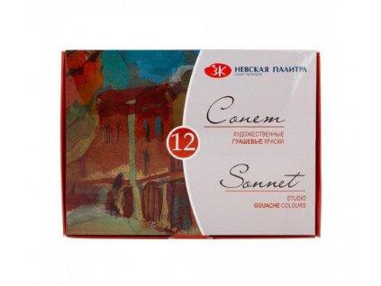 Kvašové barvy Sonnet, zn. Nevskaya Palitra, 12ks, 20 ml