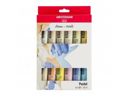 Sada akrylů Amsterdam Pastelové  odstíny 12x20ml