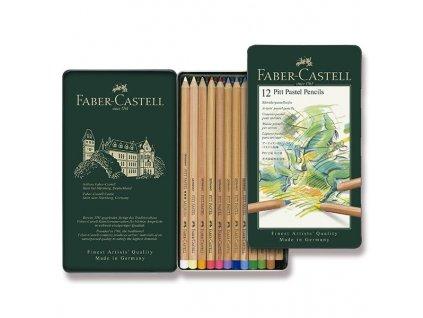 Umělecké pastely Faber-Castell Pitt Pastel - plechová krabička, 12 barev