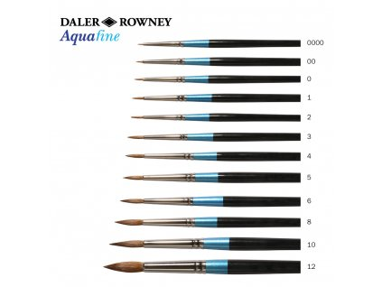 Akvarelové štětce Aquafine přírodní- sobol -12 velikostí, zn. Daler Rowney