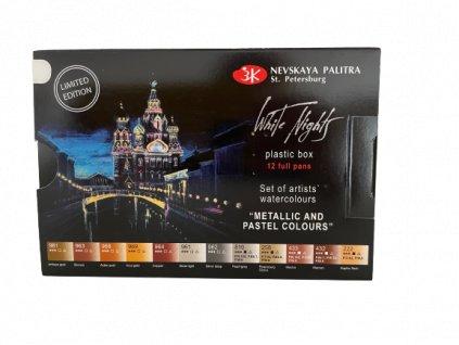 Akvarelové barvy metallic a pastelové barvy set 12 ks zn Nevskaya Palitra