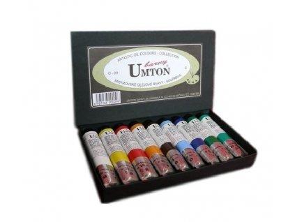Olejové barvy UMTON 20 ml, 9 kusů. Baleno v papírové kazetě.