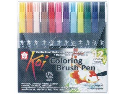 Sada akvarelových štětečkových markerů KOI COLORING BRUSH PEN - 12 odstínů