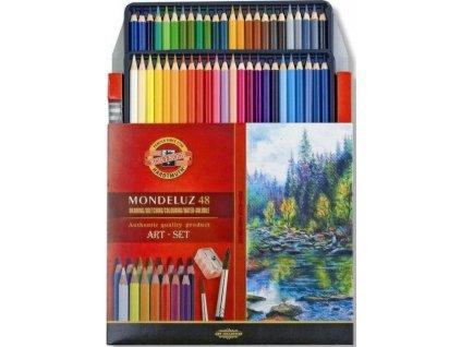 Akvarelové pastelky ART-SET Mondeluz 48 ks + ořezávátko + 2 štětce