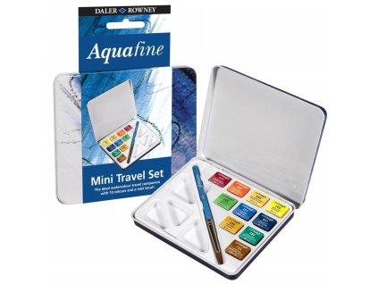 Akvarelové barvy Aquafine v kovovém pouzdře, sada 10 ks + štětec