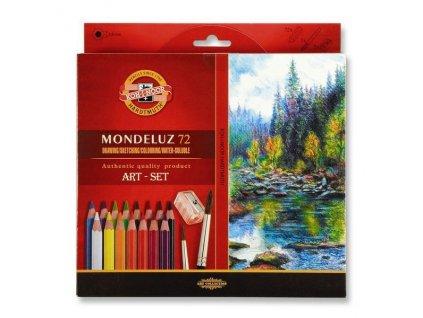 Akvarelové pastelky ART-SET Mondeluz 72 ks + 2 ořezávátka + 3 štětce