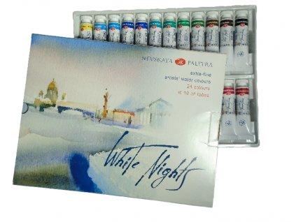 Sada profesionálních akvarelových barev White nights v tubě - 24 ks