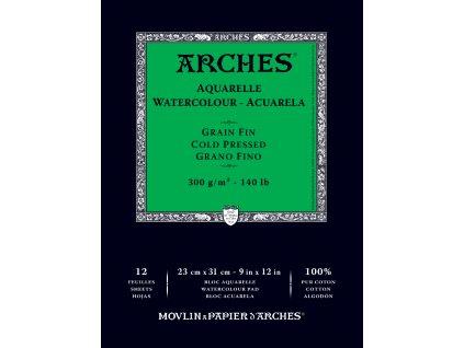 Akvarelový blok Arches - 300g/m² zelený cold pressed