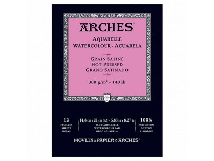 Akvarelový blok Arches - 300g/m²  - růžový hot pressed