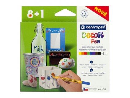 Speciální barevní značkovače Decor pen na různé povrchy Centropen 8+1 ks