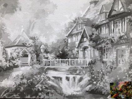Plátno s motivem - zahrada I. dům vodopád