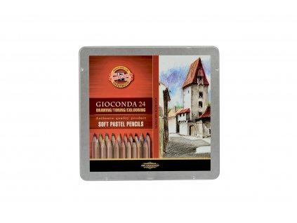Pastel soft v tužce GIOCONDA - 24 ks v plech.kazetě