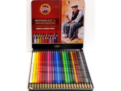 Akvarelové pastelky KOH-I-NOOR 24 ks v plech.kazetě