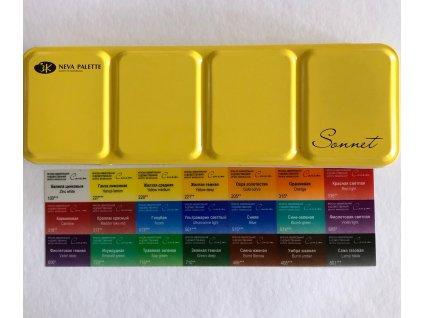 Akvarelové barvy  Sonnet , 21 barev v plechové kazetě