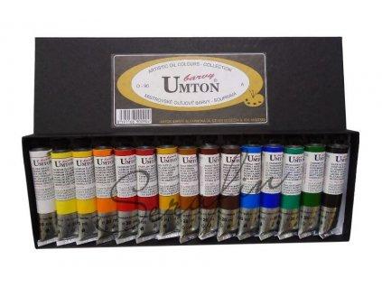 Olejové barvy UMTON 20 ml, 15 kusů. Baleno v papírové kazetě.