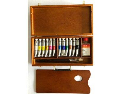 Akrylové barvy v dřevěné kazetě - zn. Lukas