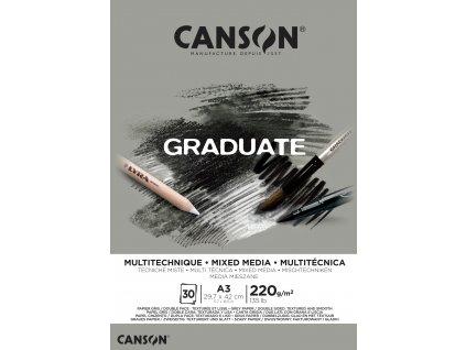 Blok Canson Mixed Media - 220 g/m2 A3 / šedý