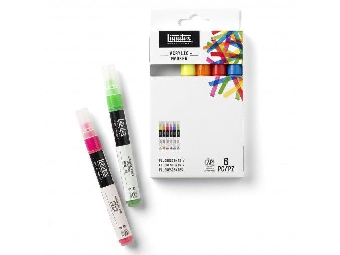 Sada akrylových markerů Fluorescent 6 ks zn. Liquitex