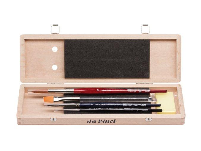 Luxusní akvarelová sada čtyř štětců a mýdla v dřevěném boxu zn. da Vinci.