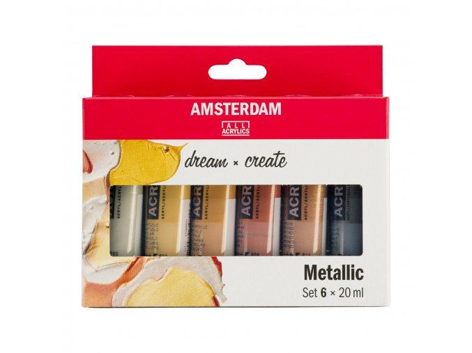 Sada akrylových metalických barev zn. Amsterdam  6x20ml