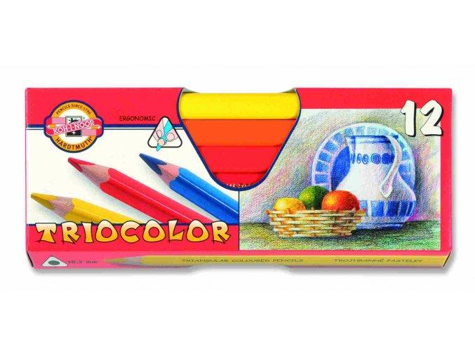 Pastelky TRIOCOLOR - lakované 12 ks