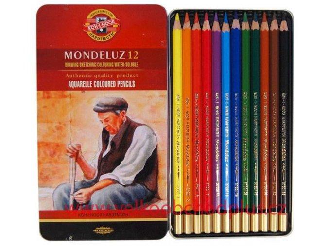 Akvarelové pastelky KOH-I-NOOR 12 ks v plech.kazetě