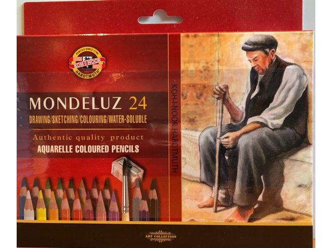 Akvarelové pastelky ART-SET Mondeluz 24 ks + ořezávátko + 2 štětce