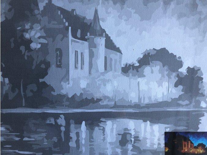 Plátno s motivem - noční zámek