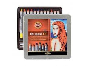Umělecké akvarelové voskovky  Koh-i-noor 12 ks plechová krabička