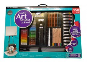 complete art studio with easel