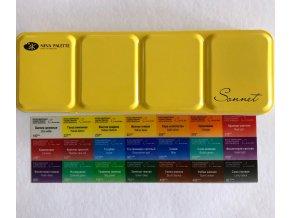 Akvarelové barvy  Nevskaya Palitra , 21 barev v plechové kazetě