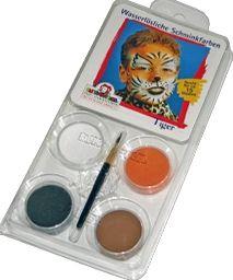 Barvy na obličej Eulenspiegel - 4 ks tygr: černá, hnědá, bílá, oranžová