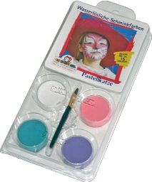 Barvy na obličej Eulenspiegel - 4 ks kočka: bílá, růžová, zelená, fialová